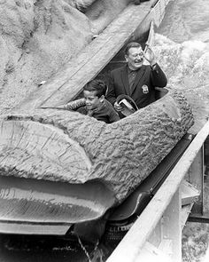 John and Ethan Wayne are first on Log Ride, Knott's Berry Farm, 1969 by Orange County Archives, via Flickr