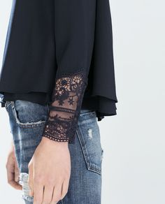 ZARA - COLLECTION SS15 - TOP WITH EMBROIDERED CUFF