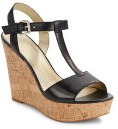 5d2a3c409be Saks Fifth Avenue Deville Leather Cork Wedge Sandals - ShopStyle