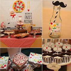 Event planner Keren Precel took her inspiration from one of the oldest kid party themes around: the pizza party!  Keren put her stylish spin on the theme, creating tons of cute pizzeria-inspired paper products and fun extras, like adorable, tiny pizza-box shaped favors, which housed cookies designed to look like mini pies! Keep clicking to check out all the other ways Keren turned a kid's favorite dinner into something extraspecial at this party!  Source: Keren Precel Events