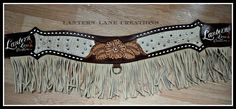Custom tripping collar for 2015 sponsored rider, tooled floral, champagne croc with bone fringe,  buckstitiching, white turquoise rimsets