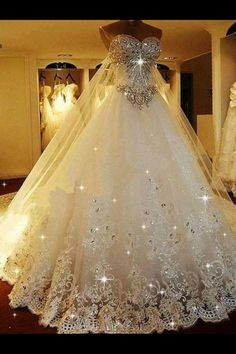 Cheap Substantial 2019 Wedding Dresses Sparkly Rhinestone Lace A Line Wedding Dresses, 2019 Luxurious Long Custom Wedding Gowns, Affordable Bridal Dresses, 17111 I belong to the more is better school of thought! Photo by LightInTheBox Brand:JUEXIU Bridal Most Beautiful Wedding Dresses, Dream Wedding Dresses, Beautiful Gowns, Elegant Wedding Dress, Elegant Dresses, Pretty Dresses, Bridal Dresses, Gown Wedding, Prom Dresses