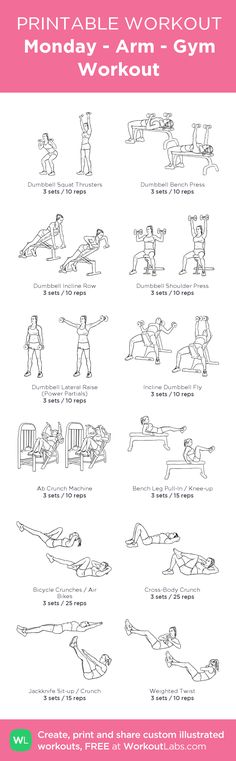 Monday - Arm - Gym Workout: my custom printable workout by @WorkoutLabs #workoutlabs #customworkout