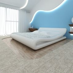 white Bed Artificial Leather White to Spiraglio with Mattress 140 x 200 cm - LovDock.com
