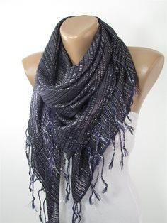 Sparkle Navy Blue Scarf Shawl Sparkly Fringe Scarf Shimmer Scarf Spring Fall Women Fashion Accessories Mothers Day From Daughter Son For Mom