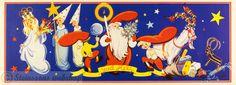 Stor julbonad - Jultomte och Lucia, av M.Rödström,gammal julbonad, 1940-50talet - Steinssons bokmärken