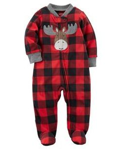 Moose Zip-Up Fleece Sleep & Play