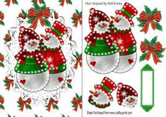 Illuminated mr and mrs snowman on lace with bow on Craftsuprint designed by Nick Bowley - Illuminated mr and mrs snowman on lace with bow, makes a lovely christmas card, can be seen in other designs, also matching backing paper - Now available for download!