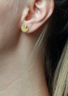 Delicate gold earrings ,18k gold Diamond earrings,bridal earrings gold, real gold earrings,solid gold earrings, fine gold jewlery