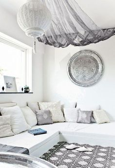 draped fabric canopy in the bed room Moroccan bohemian inspiration clean room tidy silver metallic neutrals