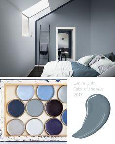 Denim Drift Bedroom, Denim Drift Living Room, Living Room Colors, Bedroom Colors, Bedroom Decor, Vintage Paint Colors, Paint Colors For Home, Denim Decor, Office Wall Decor