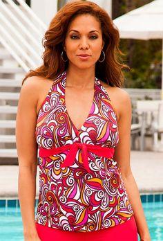 Trendy Plus Size Juniors' Flourish Printed Rosalie High Neck Underwire Tankini Top