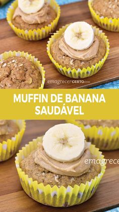 Banana Muffin with Thermogenic Spice Receita Bolo Low Carb, Bolos Low Carb, Brunch Mesa, Mini Cheesecake, Cupcakes, Milanesa, Weight Loss Blogs, Low Carb Diet, Diet Recipes