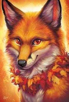 Saphalerite Soul by GoldenDruid on DeviantArt – Animals Cute Fantasy Creatures, Mythical Creatures Art, Cute Animal Drawings, Cute Drawings, Anime Animals, Cute Animals, Fox Drawing, Kitten Drawing, Fox Art