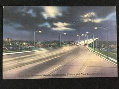 Gold Star Memorial Bridge connecting Groton and New London, CT c.1957 postcard