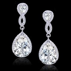 Vintage Style Diamond Cut AAA Zircon Bridal Earrings, Swarovski Crystal Earring, Silver Teardrop Earring, Bridesmaid Jewelry-172461054