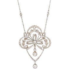 Edwardian Diamond Lavalier Necklace with Laurel Leaf Motif | From a unique collection of vintage drop necklaces at https://www.1stdibs.com/jewelry/necklaces/drop-necklaces/