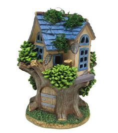 Bloom Room Littles Resin House with Blue Roof