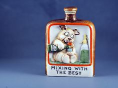 Schafer and Vater Novelty Porcelain Bisque Hip Flask Mixing It With The Best by TheVintageWindowUK on Etsy