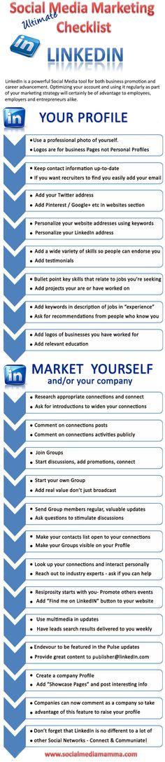 Linkedin checklist for your career and to grow your business  www.socialmediabusinessacademy.com LinkedIn infographic