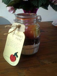 Kadootje juffendag  ☆  ingrediënten appeltaart + recept op 'n leuk kaartje