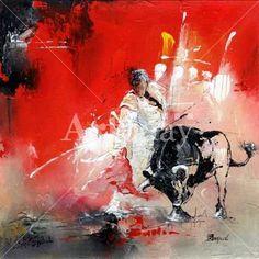 Reproduction toile: La saveur d\'une corrida, Karine Brailly. Peinture et oeuvre d\'art à vendre