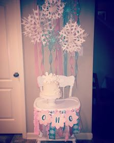 Winter ONEderland first birthday party. Smash cake. Highchair banner. Highchair backdrop