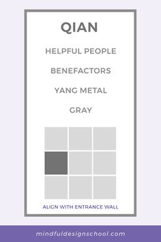 Do you feel in need of more support in your life? Or maybe you want to become more supportive to others? You may want to take a look at the QIAN area of the feng shui bagua map. This area is associated with helpful people and benefactors, as well as the metal element and the color gray. To find qian in your home, and for simple tips on how to boost this area, download our free bagua kit. Feng Shui Energy Map, School Design, Mindfulness, Kit, Teaching, Feelings, Gray, Metal, Simple