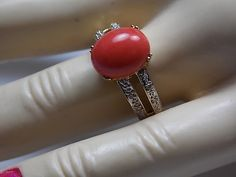Coral and Diamond Ring Yellow Gold 14K 4.6gm by estatejewelryshop
