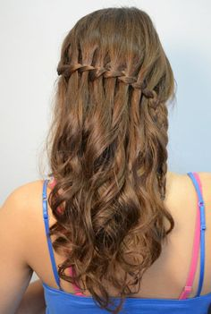 Prom hairstyles with waterfall braid. Prom hairstyles medium length hair half up half down.