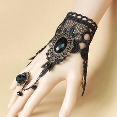 Lefinis Handmade Gothic Lolita Retro Lace Slave Bracelet Wristband Black Flower Ring: Lefinis Fashion Women Jewelry, Perfect for yourself or your friend. Goth Jewelry, Lace Jewelry, Fantasy Jewelry, Jewelry Accessories, Vintage Jewelry, Fashion Jewelry, Women Jewelry, Cheap Jewelry, Gothic Jewellery