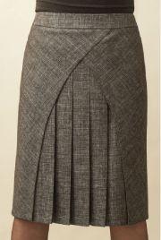 Saia com recorte vertical e pregas na frente – DIY – molde, corte e costura – Marlene Mukai