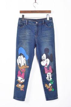 2015 nové ženy karikatúra tlačovej džínsové nohavice roztomilý rovné džínsy Harajuku značka ležérne Capris pre zmluvné strany, nočný klub veľkosti pluse-in Jeans od Dámske oblečenie a doplnky na Aliexpress.com | Alibaba Group