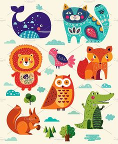 Big Collection: animals and flowers by MoleskoStudio on @creativemarket