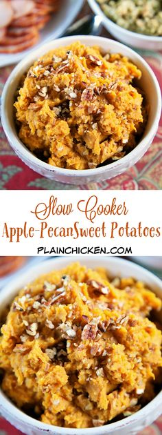 {Slow Cooker} Apple-Pecan Sweet Potatoes - sweet potatoes cook all day in the slow cooker. When you are ready to serve them, drain the potatoes and add the remaining ingredients and mix with a handheld mixer right in the slow cooker. So easy! This recipe is great for Thanksgiving. No worrying about the timing of getting the sweet potatoes done with the rest of the food. Just keep the cooked potatoes on warm until you are ready to serve!