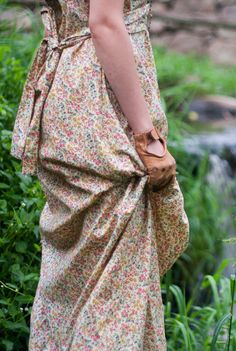 1970's Boho Chic Dress -  Prairie Country Dress, Hipster Fall Floral Maxi, Western Cow Girl // Floor Length Cotton Dress