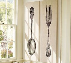 A blogger's Pottery Barn knock-off Fork and Spoon wall art!  This immage is from 'Pottery Barn' , you will see bloggers version when you go to link,and get the tutorial!