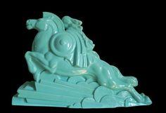 French Art Deco Crackle Glaze Ceramic Valkyrie by CHARLES LEMANCEAU - http://www.artdecoceramicglasslight.com