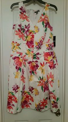 NWT Chaps Women's Size 14 Multicolor Floral Fit and Flare Dress #Chaps #FitandFlare #Cocktail
