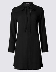 Long Sleeve Notch Neck Tunic Dress   M&S