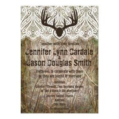 Rustic Country Camo Hunting Antlers Wedding Invitations. Two sided design.  http://www.zazzle.com/rustic_country_camo_hunting_antlers_wedding_invite-161483709347939447?rf=238133515809110851