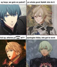 Byleth hair dye ran out ~ ~ ~ ~ . Byleth hair dye ran out ~ ~ ~ ~ . Fire Emblem Awakening, Hol Up, House Funny, Fire Emblem Games, Fire Emblem Characters, Fandom Memes, Blue Lion, Dyed Hair, Video Game
