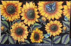 Cheerful sunflowers used Prisma & Polychromos from #blomstermandala #mariatrolle #adultcolouringbook #fabercastellpolychromos