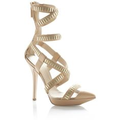 Versace: Champagne Pointed Toe Gladiator Pump ($1,650) ❤ liked on Polyvore