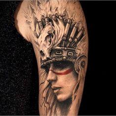 Картинки по запросу rocker tattoo Native Tattoos, Warrior Tattoos, Dope Tattoos, Chicano Tattoos, Unique Tattoos, Body Art Tattoos, Tribal Tattoos, Sleeve Tattoos, Indian Women Tattoo