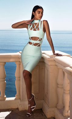 $112.99 Light Blue Cutout Choker Bandage Dress