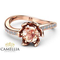 Anello di Morganite di Morganite fiore anello di fidanzamento