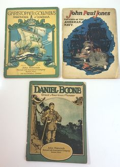 3 Vintage #Americana 1920s John Hancock Life Insurance Books on #JohnPaulJones #DanielBoone #ChristopherColumbus #History Explorers Ships by SoaringHawkVintage on #Etsy