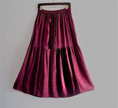 Bohemian Burgundy Velvet Maxi Skirt by KheGreen on Etsy