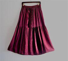 Bohemian Burgundy Velvet Maxi Skirt by KheGreen on Etsy
